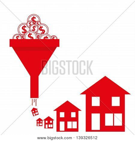 Housing and construction concept with dollar coins being poured into a funnel shape from which homes are being manufactured on a production line