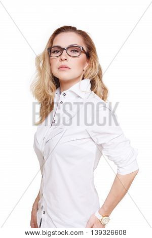 Blond stylish woman in eyeglasses. Young fashionable businesswoman in white casual clothes. Beautiful attractive female portrait isolated at white background.
