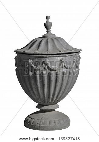 Antique vintage cast lead garden urn isolated with clipping path