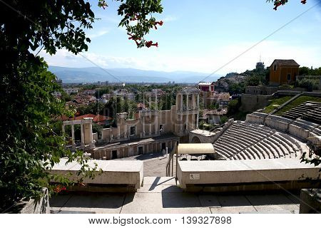 The ancient Roman stadium in Plovdiv. Bulgaria Europe.