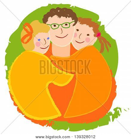 Happy family, dad with daughters. The image is made in the style of children's drawings