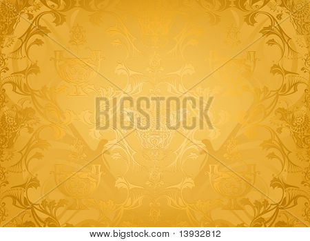 Seamless wallpaper pattern, gold
