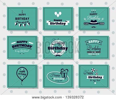Collection of greeting cards. Happy Birthday. Vector illustration