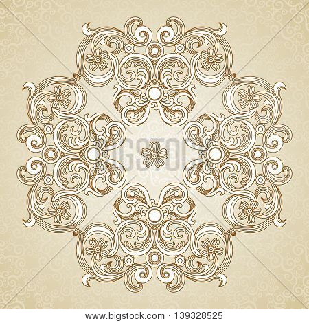 Abstract vector ornament in Victorian style. Lace pattern design. Contour ornament on scroll background. It can be used for decorating of wedding invitations greeting cards decoration for bags and clothes.