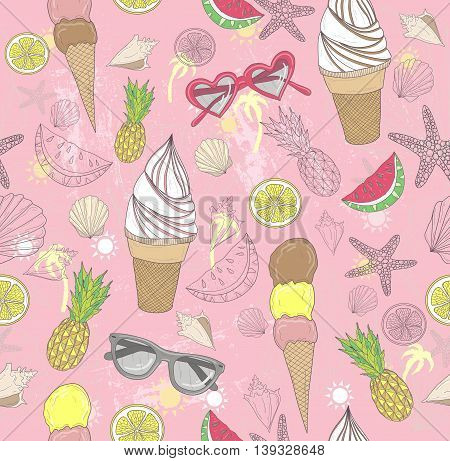 Cute summer abstract pattern. Seamless pattern with ice creams sunglasses fruits stars and seashells . Fun pattern for children or teenagers.