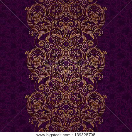 Vector seamless border in Victorian style. Element for design. Ornament endless pattern. It can be used for decorating of wedding invitations greeting cards decoration for bags and clothes.