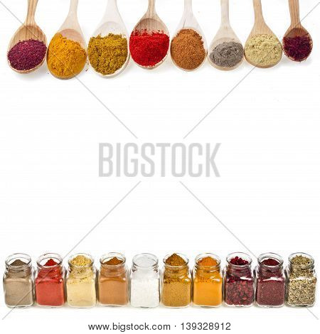 colorful powder spices isolated on a white background