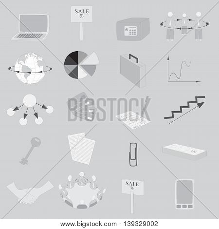 Set with 20 Grayscale Icons on Business Theme. Vector EPS 10