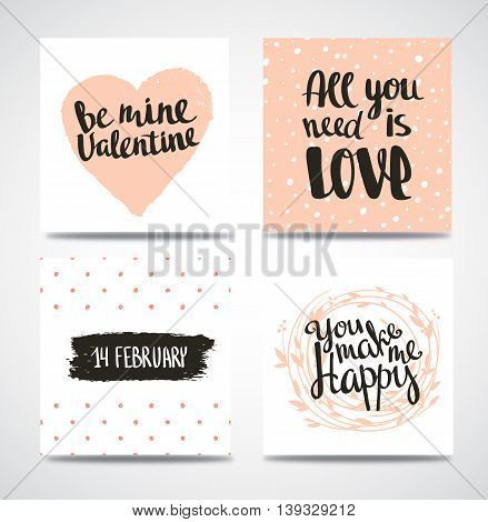 Set of trendy hipster Valentine Cards. Hand drawn vector backgrounds. Set of Valentine's calligraphic headlines