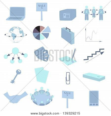 Set with Business Icons in Blue Tints. Office Items and Business Concept. Vector EPS 10