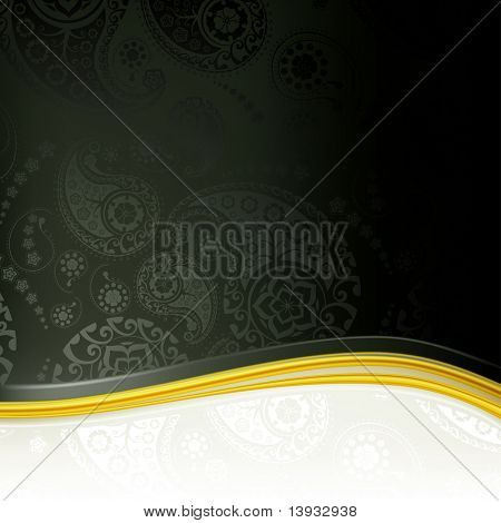 Black Paisley Background, vector