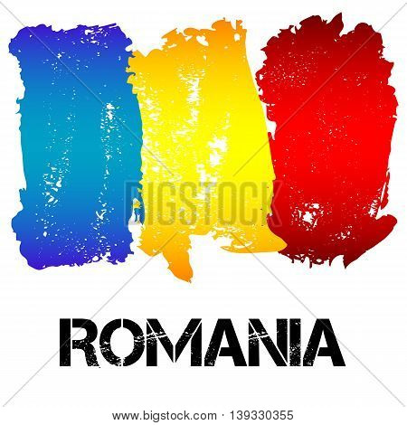 Flag of Romania from brush strokes in grunge style isolated on white background. Country in Eastern Europe. Vector illustration