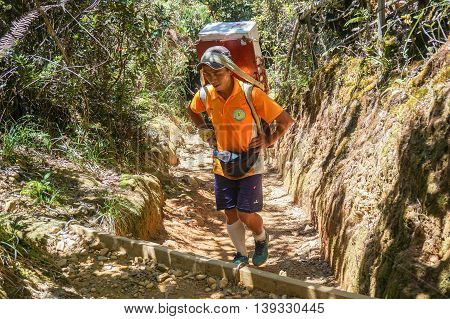 Ranau,Sabah-March 12,2016:Mountain porter transporting heavy luggage through Timpohon trail to Laban Rata.A porter is allowed to carry items weighing only a total of 10kg from Timpohon to Laban Rata.