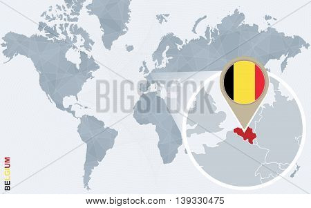 Abstract Blue World Map With Magnified Belgium.