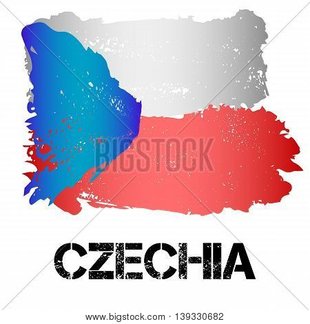 Flag of Czechia from brush strokes in grunge style isolated on white background. Country in Eastern Europe. Vector illustration