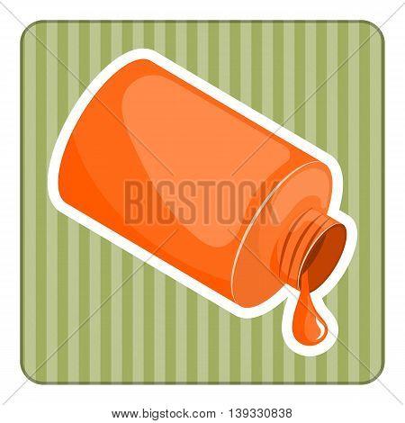 Orange paint in bank. Vector illustration in cartoon style