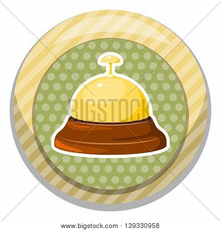 Reception bell icon. Vector illustration in cartoon style