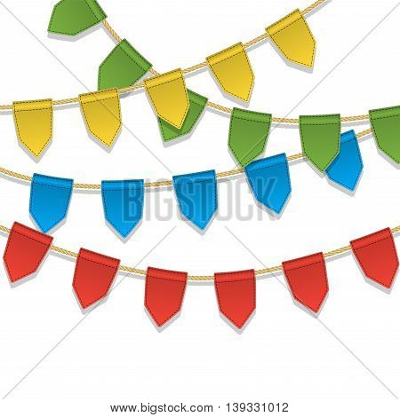 Vector colorful bunting decoration garland pennants on a rope for birthday party carnaval festival celebration special events. Cute holiday background