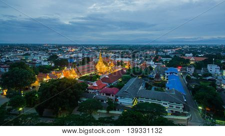 Aerial view of Temple Phra That Hariphunchai Lamphun Thailand.