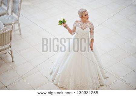 Gorgeous Blonde Bride Posed Indoor Great Wedding Hall