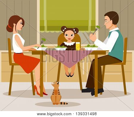 The illustration on a family theme. Mother father and daughter having dinner in the kitchen.