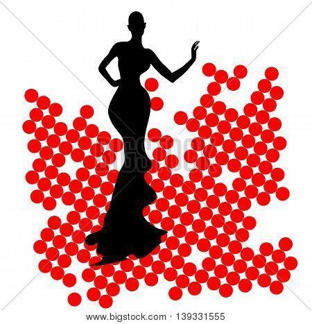 silhouette girl model sheath dress at the party on the red balls