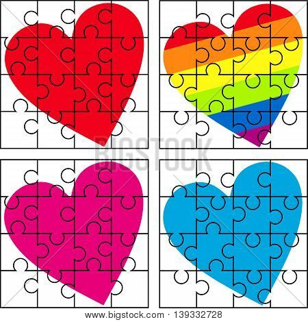 set of stylized vector image - puzzle with a variety of hearts