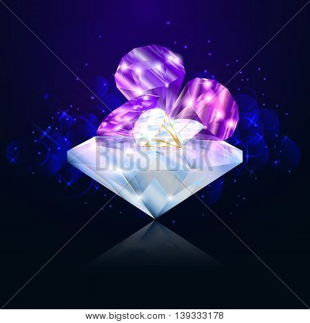 Brilliant diamond on the dark blue background for jewelry. Vector illustration.