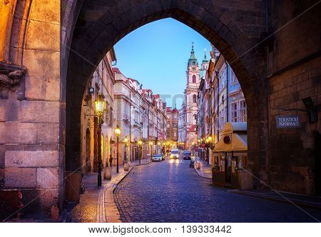 entrance to Hradcany old town at night, Prague, Chech Republic, toned