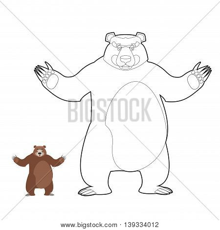 Bear Coloring Book. Grizzlies In Linear Style. Good Happy Wild Beast. Forest Animal With Brown Fur.