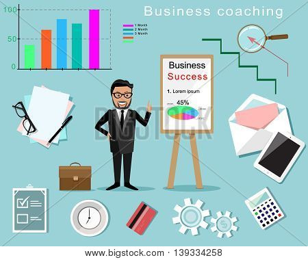 Business Coaching infographic. Man with board and different business elements