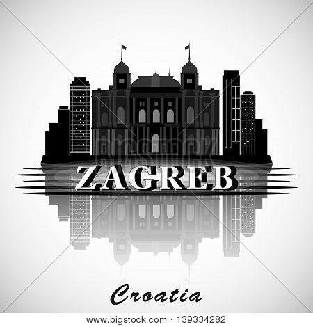 Modern Zagreb City Skyline Design. Republic of Croatia