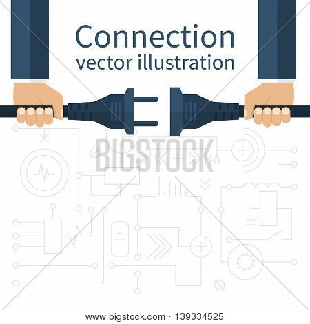 Connection disconnection electricity. Vector illustration flat design. Men are holding in hand plug and socket to connect. Abstract concept isolated on the background of electric circuit.