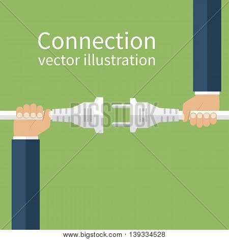 Electric plug and socket in hands of two men making the connection disconnection. Vector illustration flat design. Abstract concept isolated on the background.