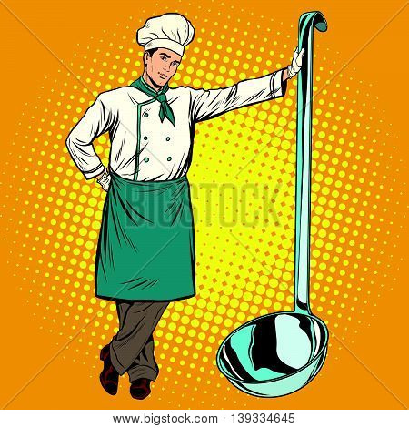 Professional chef with ladle pop art retro vector. Cooking and Haute cuisine