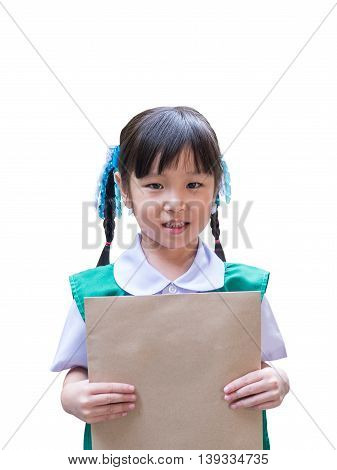 Asian kid girl holding a brown envelope over white background