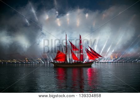 SAINT-PETERSBURG RUSSIA - June 26 2016: Celebration Scarlet Sails show during the White Nights Festival