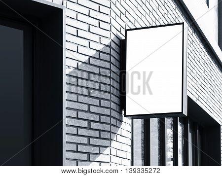 Signboard shop Black Square sign Mock up display exterior