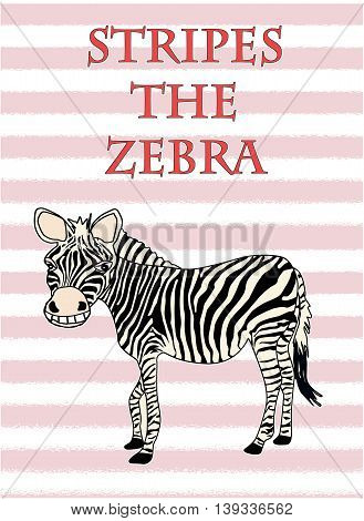 Stripes The Zebra Poster, Illustration  In Color 04