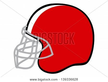 Doodle illustration of American football helmet isolated on white