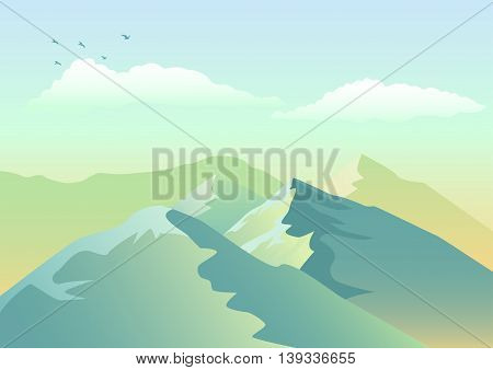 Illustration of mountains, landscape and scenery vector