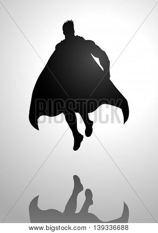 Silhouette illustration of a superhero in flying pose