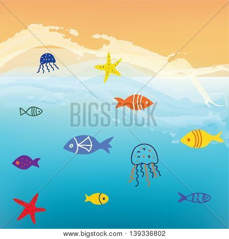 Sea and fishes funny background with waves and sand. Vector graphic illustration