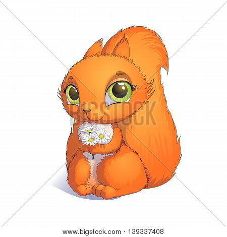 Squirrel with a bouquet of flowers. Animation character. The isolated image on a white background. Hand drawn illustration.