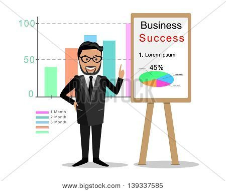 Business coach with board. Flat style vector illustration.