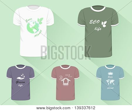T-shirt templates. Realistic t-shirts with eco-design prints