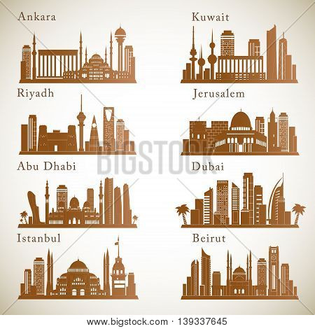 Middle East Cities skylines set. Graphic vector silhouettes of landmarks.