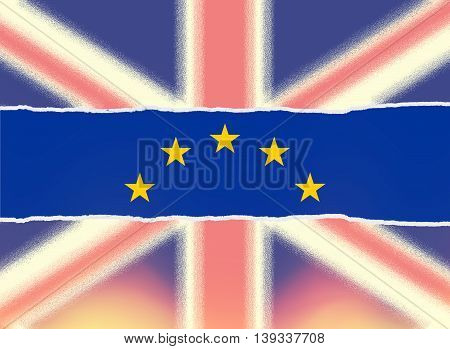 Ripped faded United Kingdom flag and European Union flag Brexit concept