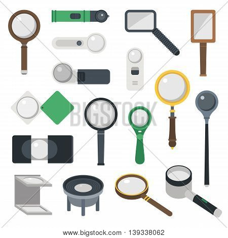 Optical magnifier loupe icons symbols abstract vector illustration.