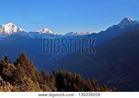 Panorama view of the majestic of himalayan mountain range during sunrise view from Poon Hill view point at Nepal